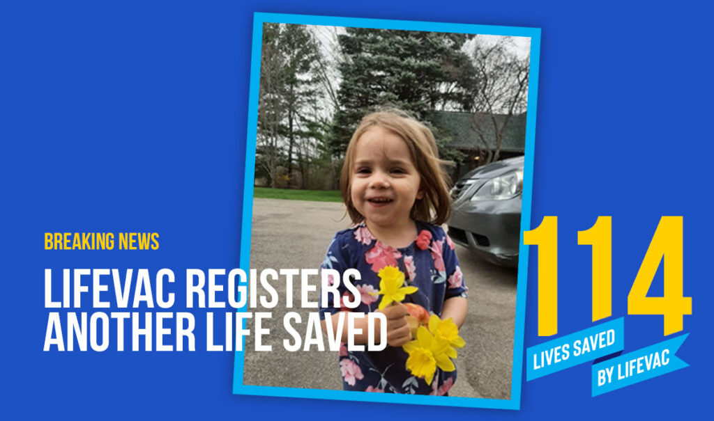 LifeVac saves two year old girl from choking